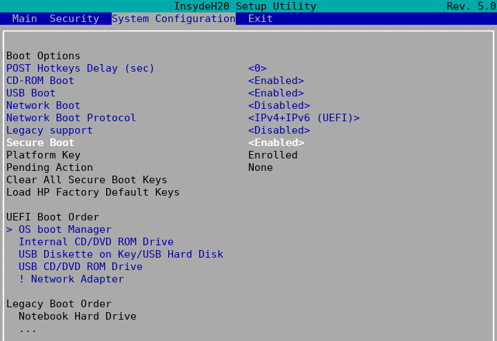 clear all secure boot keys